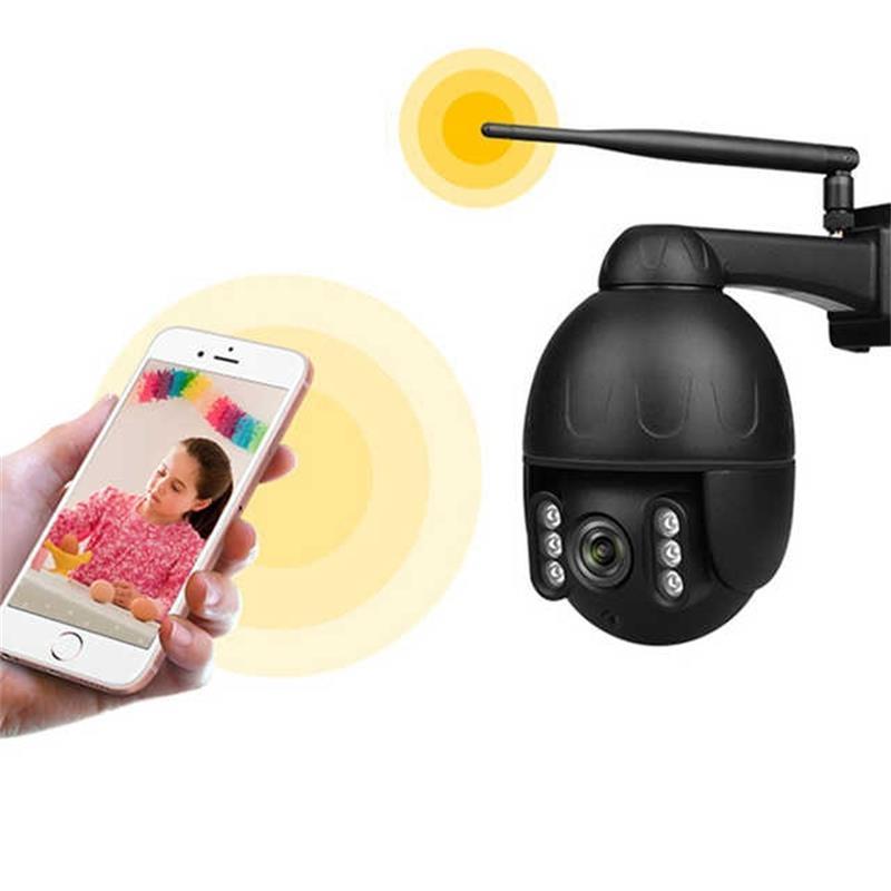 PTZ-Kamera-1080P Full HD Zweiwegaudiovorrichtung WiFi Outdoor Wireless Surveillance Bewegungserkennung IR-Nachtsicht-IP-Kamera