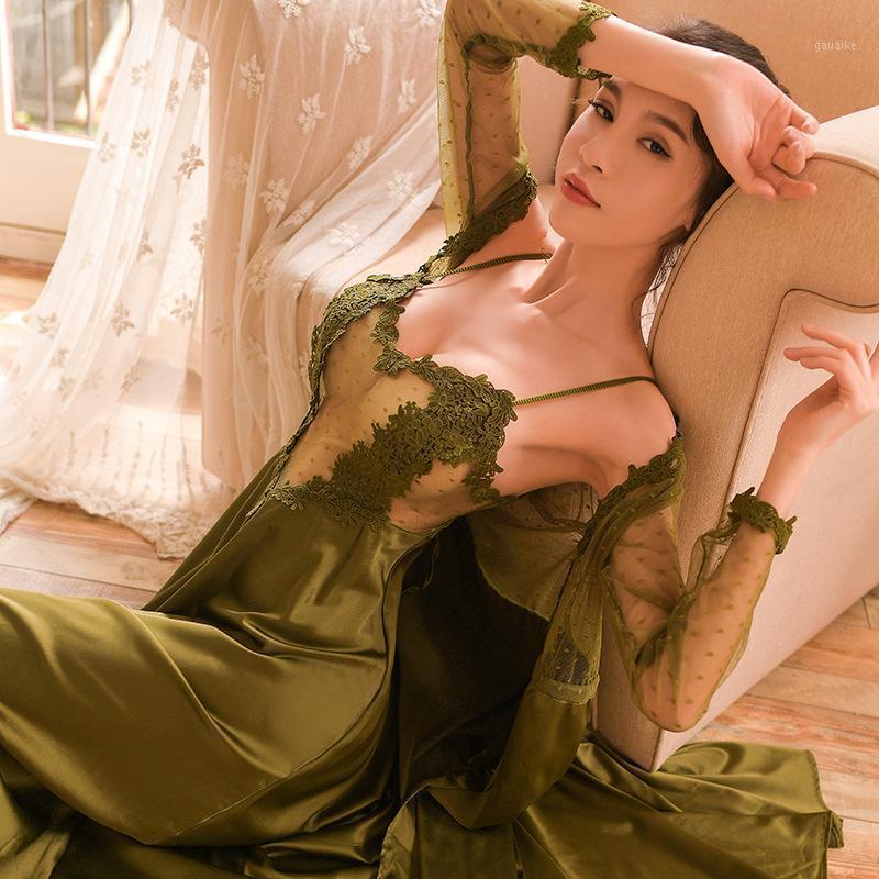 Sexy 2pcs malla de malla caminata caminata vestido de vestido New Spring Lady Satin Long Bathrobe Sleep Traje íntimo Lencería Cami Vestido Sleepwear1