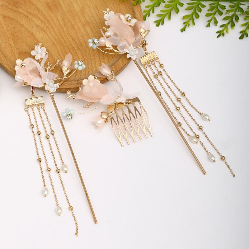 Pendientes Collar Forseven Fore Sheen Chinese Girls Hanfu Vestido Flower Crystal Pearls Horquillas Clips Pelo Fork Combs Publics1