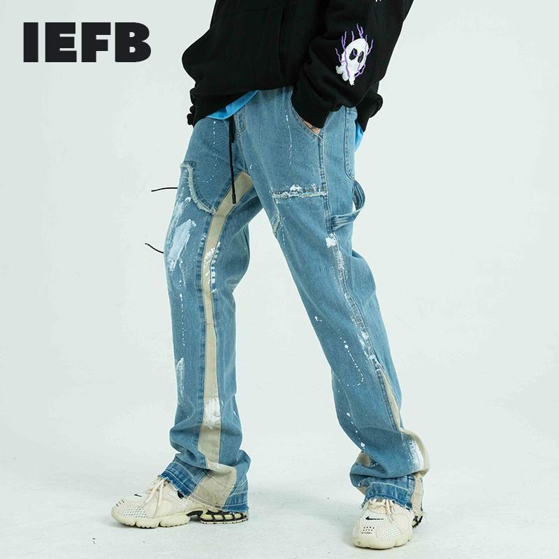 IEFB Pantalons Jeans Homme peint Streetwear effiloché Ruban Drawstring en vrac Denim Side Hip Hop Harajuku Pantalons tissu Trendy Y4187