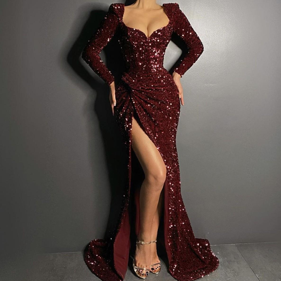 부르고 뉴 스팽글 긴 소매 인어가있는 이브닝 드레스 - 인어 높은 분할 인어 파티 드레스 파티 가운 로얄 블루