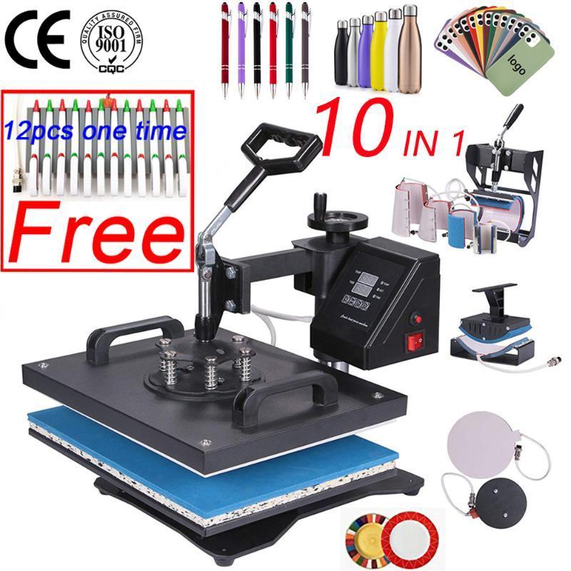 10 في 1 كومبو الحرارة الصحافة آلة التسامي الحرارة الصحافة آلة نقل آلة تي شيرت / لوحة / mugbottle / القلم / كاب / حالة الهاتف