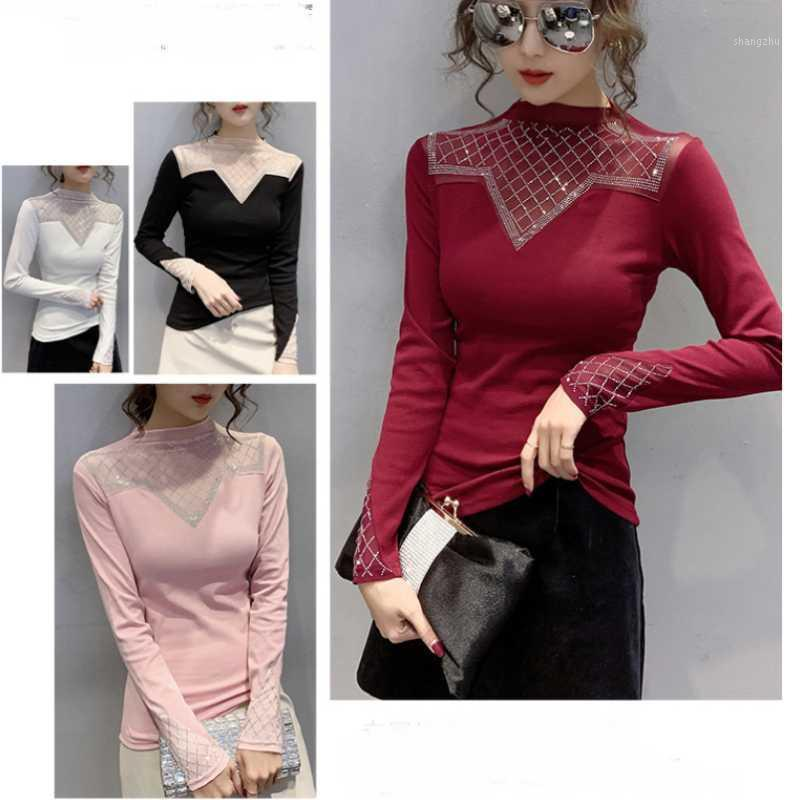New Spring Lace Patchwork Blouse Women top Fashion Office Lady Plus Size Sexy Mesh Top long sleeve Bottoming Clothing Ladies1