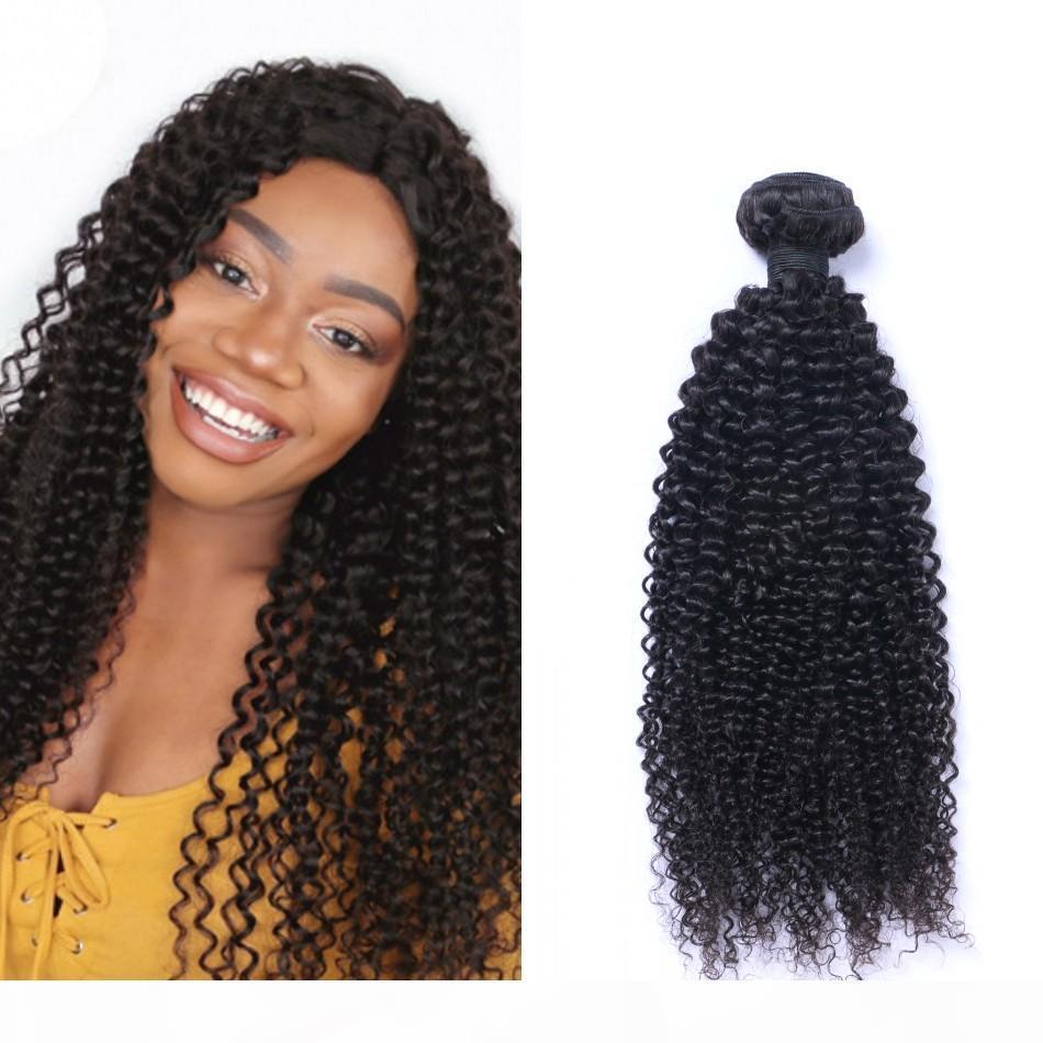 Paquetes de pelo rizado Kinky Malasia 100% extensión de cabello humano Color natural 3 paquetes de cabello virgen tejidos
