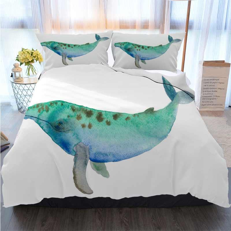 Постельные принадлежности 3 шт пододеяльник Комплекты Акварель Multicolor Whale Главная Luxury Мягкое пуховое Одеяло Обложка