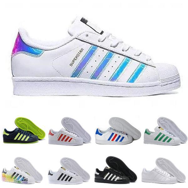 النفايات الكلاسيكية الأبيض الهولوغرام قزحي الألوان الصغار النجوم 80s فخر أحذية رياضية سوبر ستار النساء الرجال الأزياء في الهواء الطلق المشي الأحذية 36-44
