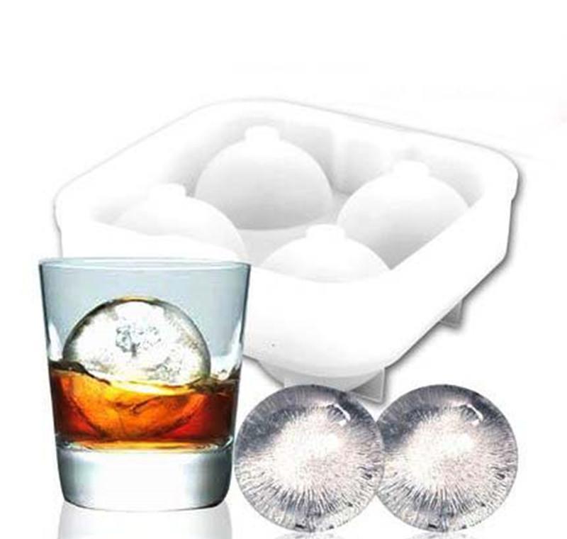 Bolas de hielo de alta calidad Fabricante Utensilios Gadgets Molde 4 Celular Whisky Cóctel Premium Esferas Redondas Bar Cocina Partido Jlljmg Sinabag