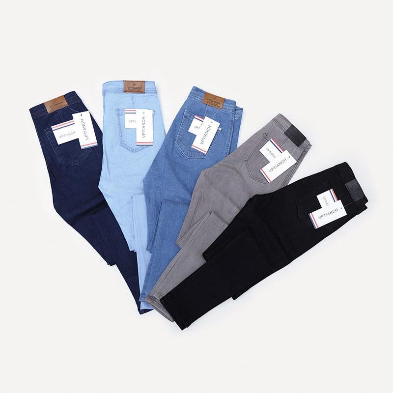 jeans di autunno delle donne di colore jeans vintage a vita alta denim donne della molla denim dei pantaloni elastico Magro matita Stretch Jeans Femme C1111