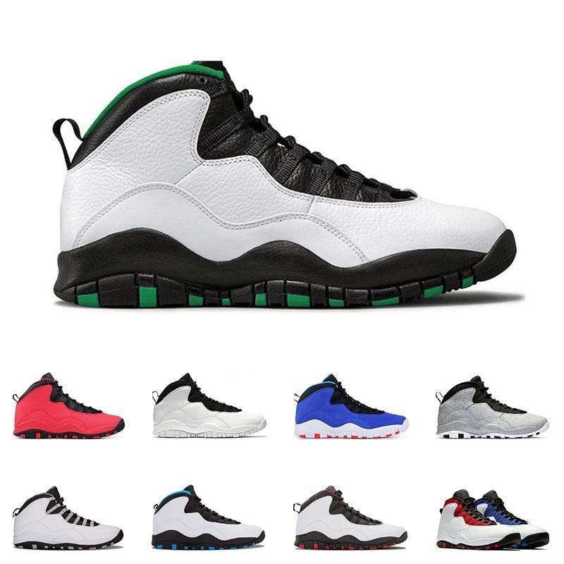 Nuovo Athletic scarpe 10 mens basketball shoes 10s Seattle acciaio Cemento TINKER grigio azzurro polvere Sono sport schiena sneakers allenatore