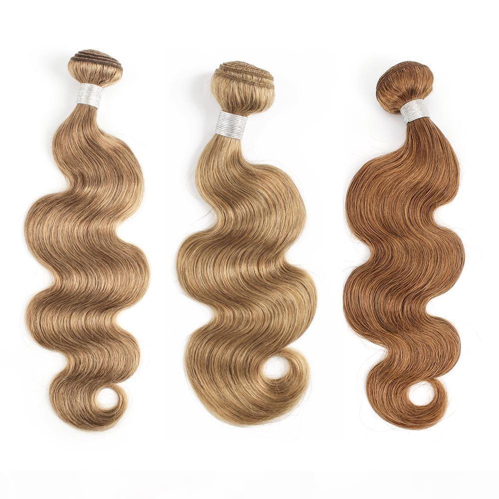 Perulu Vücut Dalga İnsan Saç Dokuma Demetleri Renk # 8 # 27 # 30 Bal Sarışın 3 veya 4 Demetleri 16-24 inç Remy İnsan Saç Uzantıları