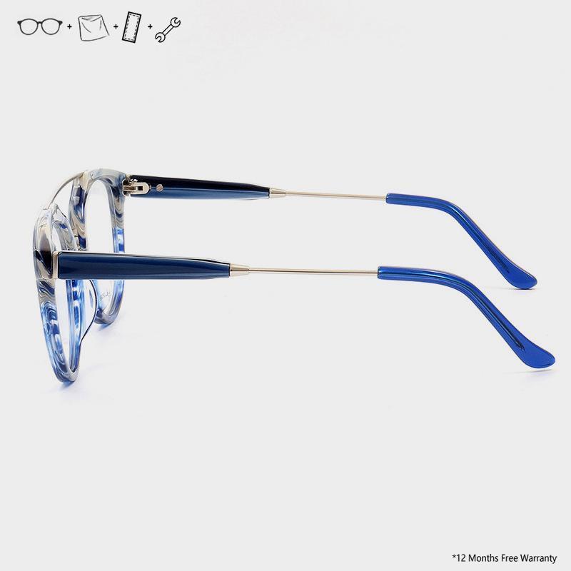 Blue Light Glass Blocco per telaio Acetato Cancella Pilota Eyeglasses Giappone Uomo Donna Vintage Round Eyewear Occhiali trasparenti fatti a mano1