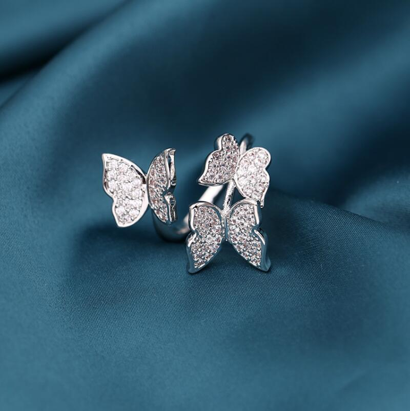 الأوروبي حار بيع مايكرو مطعون الزركون فراشة مفتوحة حلقة مجوهرات أزياء المرأة ماركة فاخرة عالية الجودة تقليد البلاتين هدية