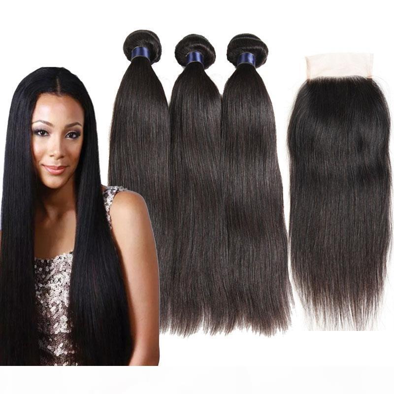 Бразильский Straight Virgin ткет волос 3 Связки Extensions волос с закрытием Free Средний Три части Double Утки Natural Black