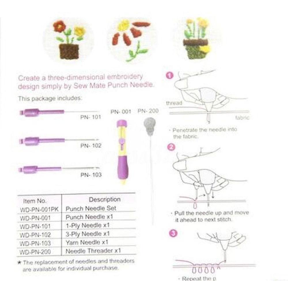 3 Dimensioni Ricamo Punzonatura Cucitura Ago Filettante per cucire FAI DA TE Strumenti a mano Set Micro Ago Penna Penna Concor Qylouq Garden2010