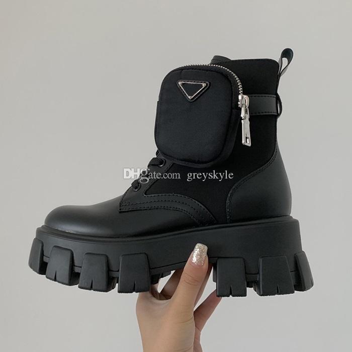 Brand Design donne di cuoio della mucca Platform Boots moda Thick Heel Winter Snow Boots Stretch Portafoglio di lavoro Tooling Martin Boots, 35-40