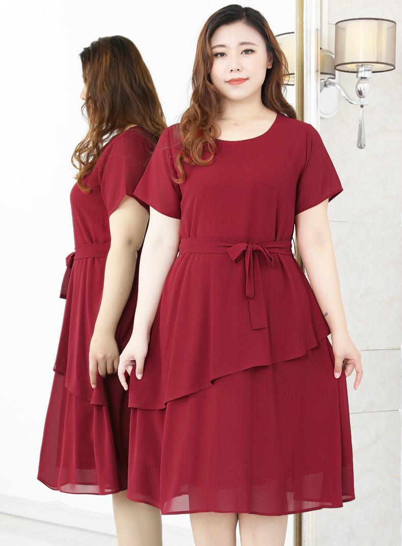 4xl a 10xl extra plus size vestido de verão cascading cintura alta fina vestidos de chiffon mulher vestes vestidos de fiesta ta20338c