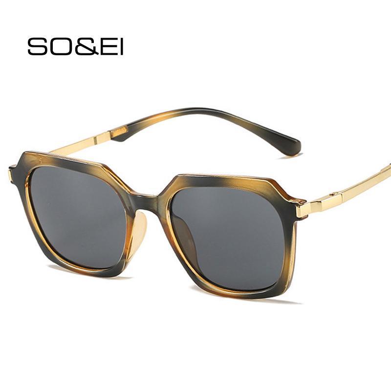 Sunglasses SO&EI Retro Polygon Square Women Ins Fashion Jelly Color Eyewear Men Trending Sun Glasses Shades UV400