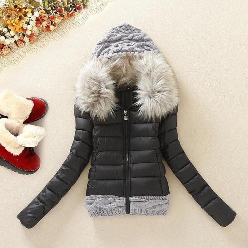 Otoño Invierno 2019 mujeres capa de la chaqueta con capucha punto del algodón Relleno corta de las señoras suéteres de la capa bombardero chaquetas 00xU #
