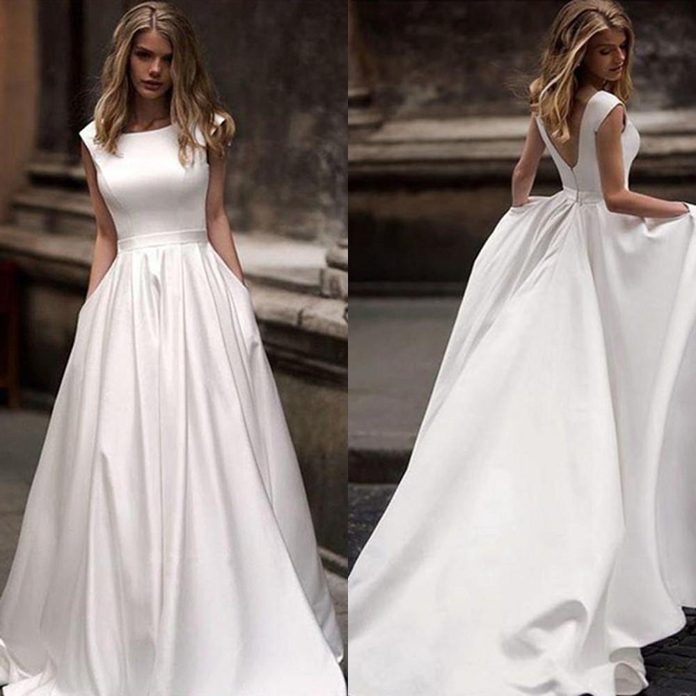 New Arrival baratos mais vestidos de casamento Tamanho com bolso cetim plissados até o chão vestidos de noiva Vestido de Noiva Vestido de novia