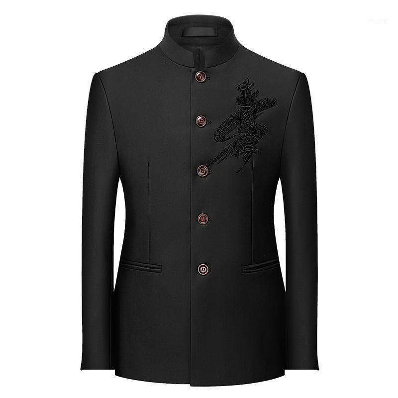 Trajes para hombres Blazers Plus Tamaño 6xl 5xl Business Formal Wear Blazer Chaqueta Hombres Ropa 2021 Moda simple Collar Zhongshanzhuang CAS