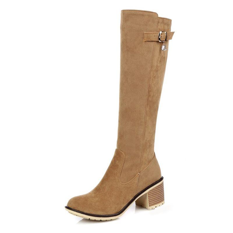 2021 Amerikan Boncuklu Toka kadın Yüksek Çizmeler Kare Yüksek Topuklu Ayakkabı Çizmeler Kış Bayan Ayakkabıları