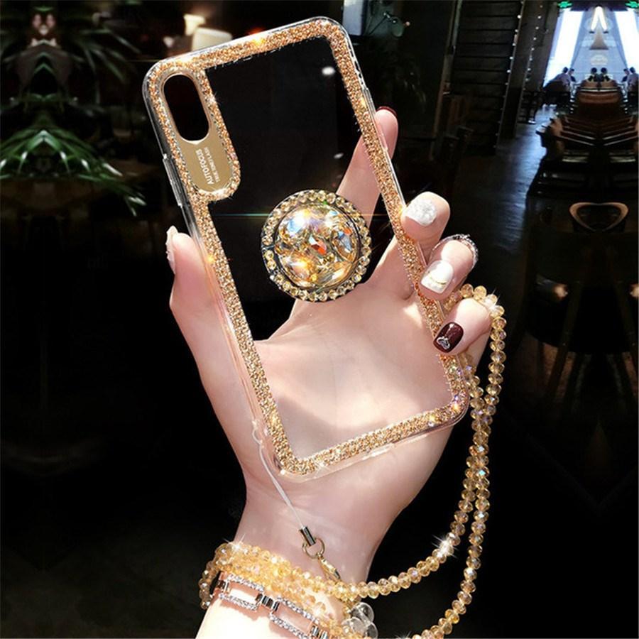 럭셔리 블링 반짝이 아이폰 12 프로 최대 전화 케이스 아이폰 11 Pro Max X XS Max 8 7 Plus 6 6S 플러스 케이스 커버 다이아몬드 링 끈