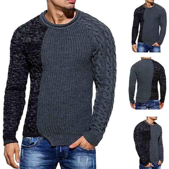 Mens Designer Pullover Mode Patchwork O Neck Pullover Slim Stricks Winter Casual Warme Männer Langarm Kleidung