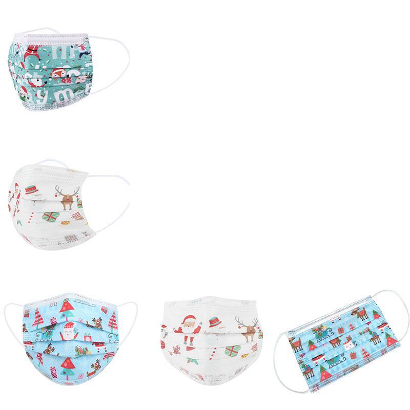 Máscara crianças respirador descartável Rosto Natal com Elastic Ear laço 3 Ply respirável para Bloqueio Poeira Air Anti-Poluição Máscara FWC3187