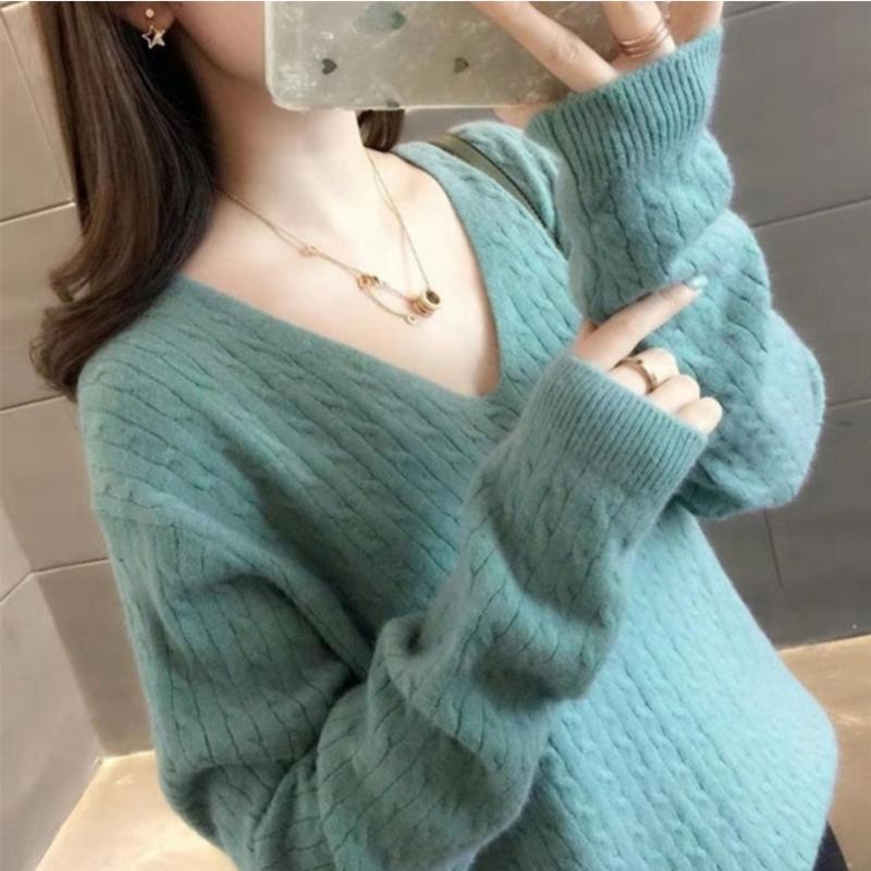 Nuevo invierno Tops mujeres suéter suéter de la manera del estilo V-cuello ropa coreana larga floja géneros de punto Jerseys suéter Mujeres top Femme