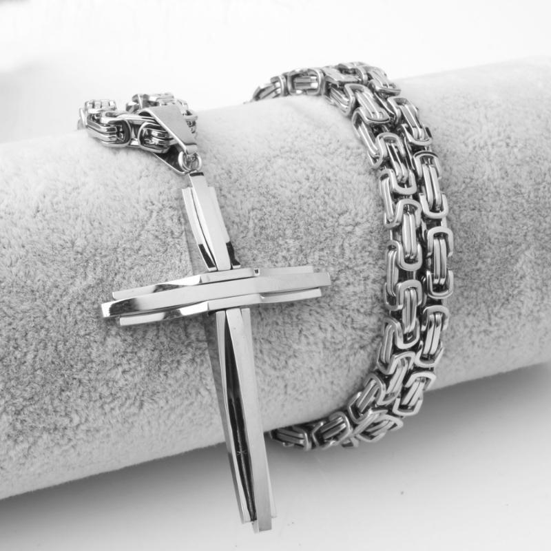 محظوظ الصليب قلادة قلادة للرجال النساء البيزنطية سلسلة الصلبة الفولاذ المقاوم للصدأ عالية مصقول الهيب هوب فتى مجوهرات اكسسوارات