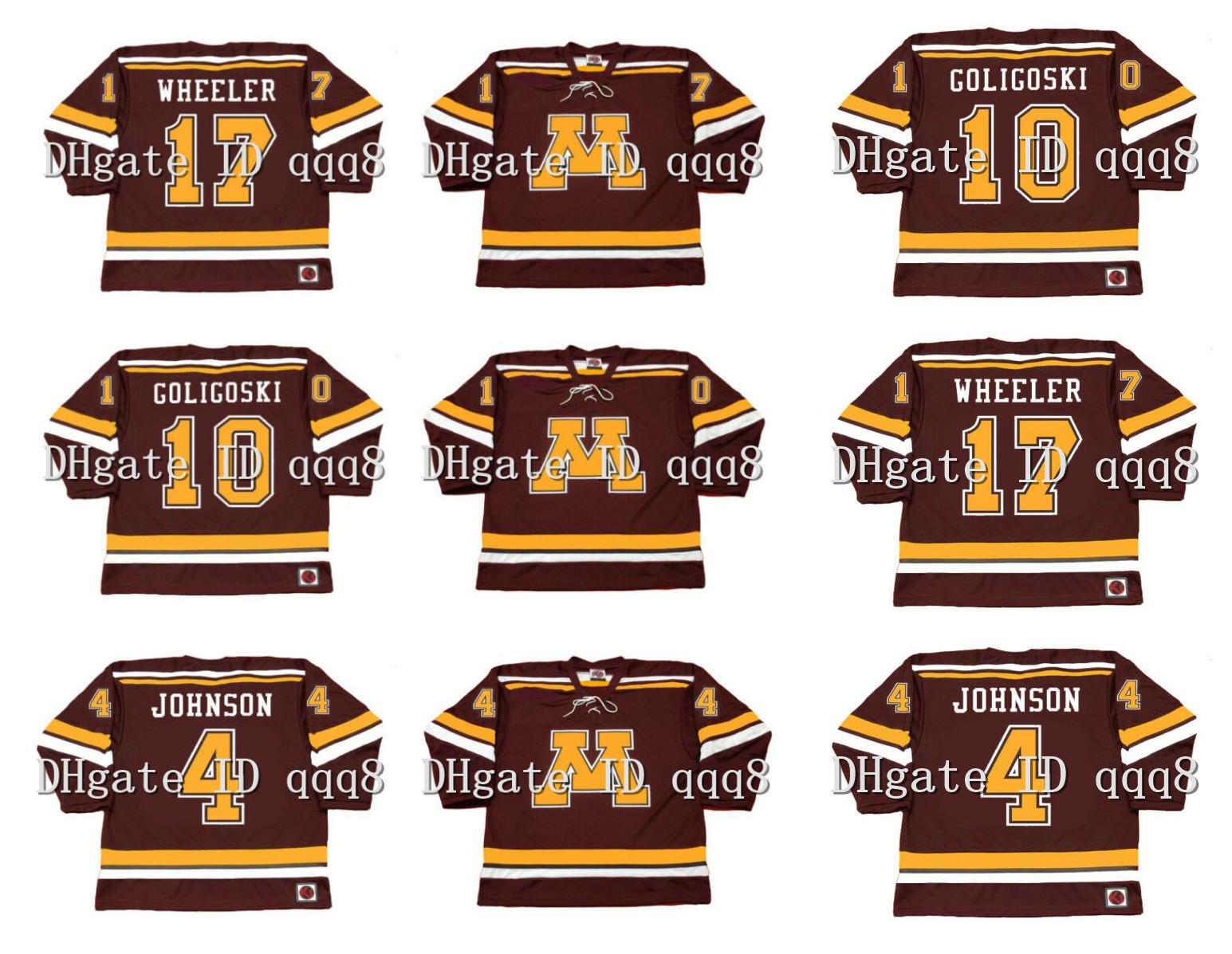 NCCA Minnesota Gophers Jerseys 4 Erik Johnson 10 Alex Goligoski 17 Blake Wheeler Custom Hockey Trikots