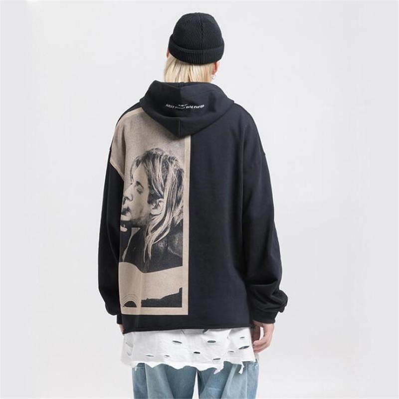 Нагри Kurt Cobain Печать Толстовки Мужчины Hip Hop Повседневная Punk Rock пуловер с капюшоном Толстовки Streetwear Мода Hoodie Топы 201116