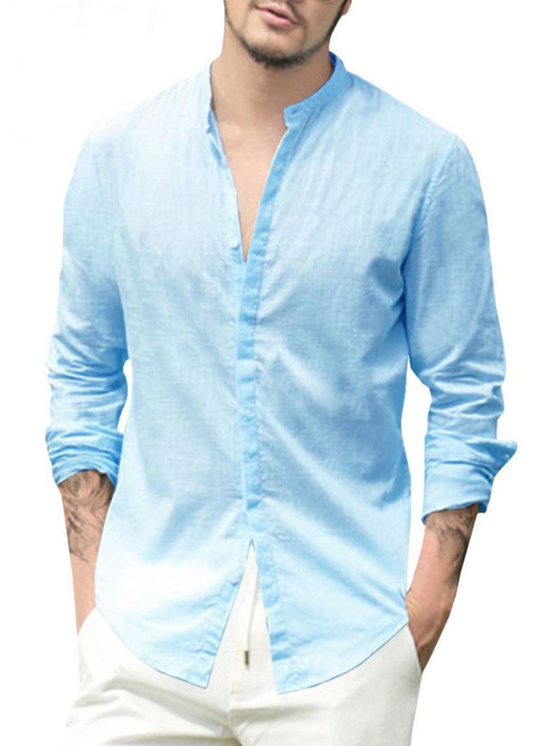 Camicie casual da uomo Hirigin Summer Lino Lino Lino Manica lunga con scollo a V con scollo a V