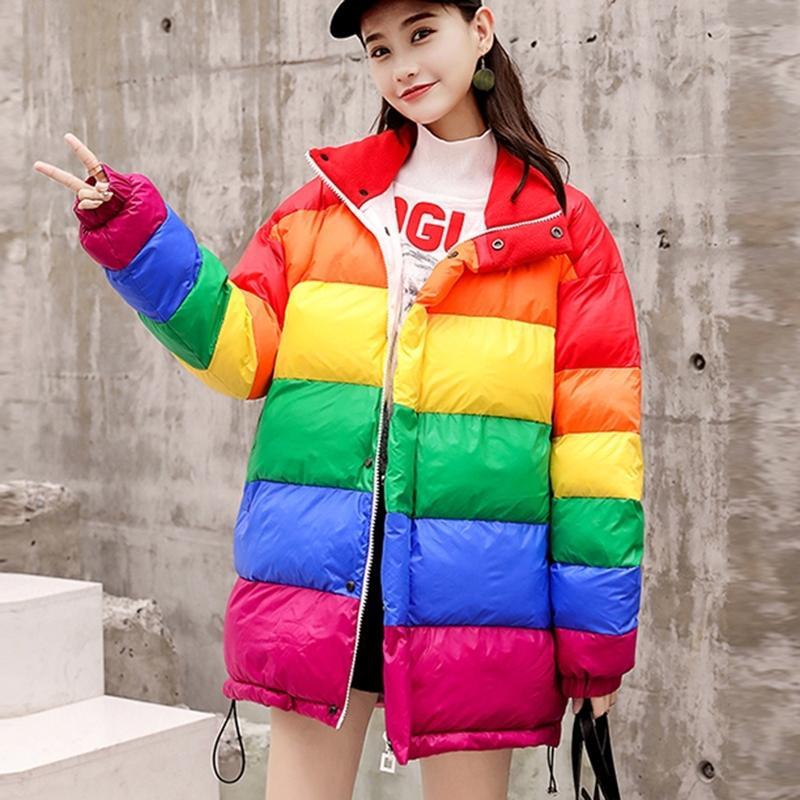 Winter Warm Down Jacket Thicken Women Parkas Rainbow Spliced Winter Coat Loose Women Cotton Jackets Streetwear Outerwear 201104