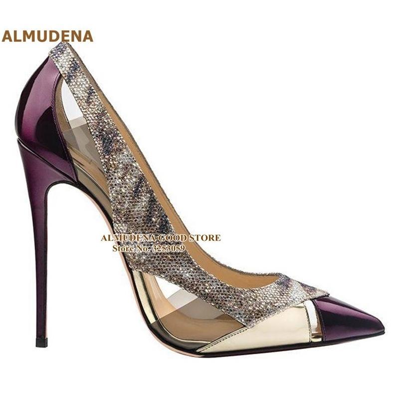 Almrudena lila Lackleder spitz spitz pumpen 12 10 8 cm stiletto heels klare pvc kleid schuhe glitter sankeskin patchwork schuh t200525