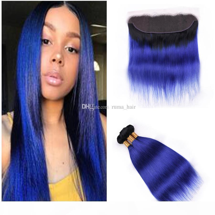 8a Малайзийская прямая 1б синие темные корни 3 пакета с кружевом лобового закрытия Оммре синие человеческие волосы плетены с 13x4 Frontal