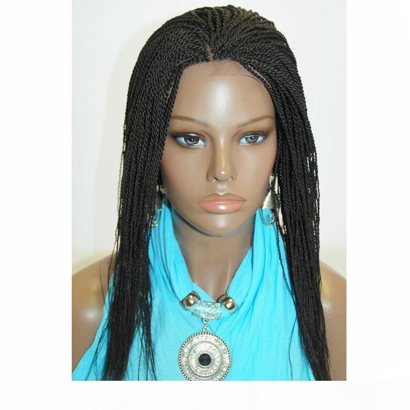 Alta qualidade trançado rendas frente Wigs Box Synthetic Fiber Perucas Grosso Mão Completamente Torça cabelo sintético Micro Havana Torça Perucas da Mulher Negra