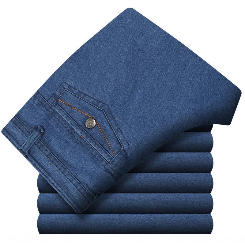 0bh17 y de los hombres de edad avanzada y sueltos de algodón tramo recto de los pantalones vaqueros pantalones vaqueros ocasional de mediana edad gruesa padre otoño alta cintura de gran tamaño