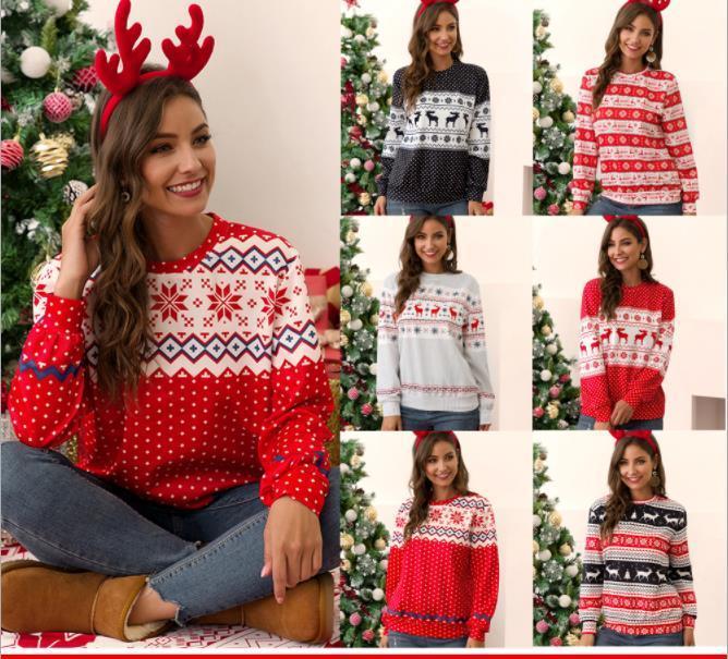 Женские Рождество футболки свитер Рождество Элк рубашки O-образным вырезом с длинным рукавом Топы для рождественского фестиваля одеваются