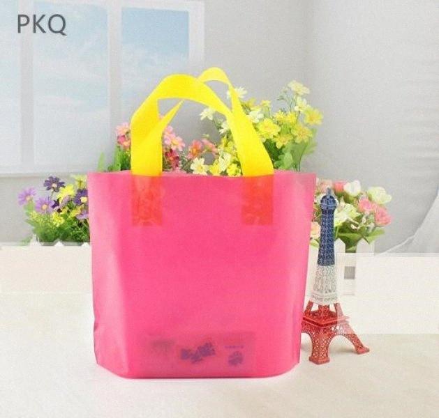2019 caliente de la nueva manera simple hermosas al por mayor bolsos del regalo pequeño plástico con asas de plástico Bolsa de la compra para la ropa m3OO #