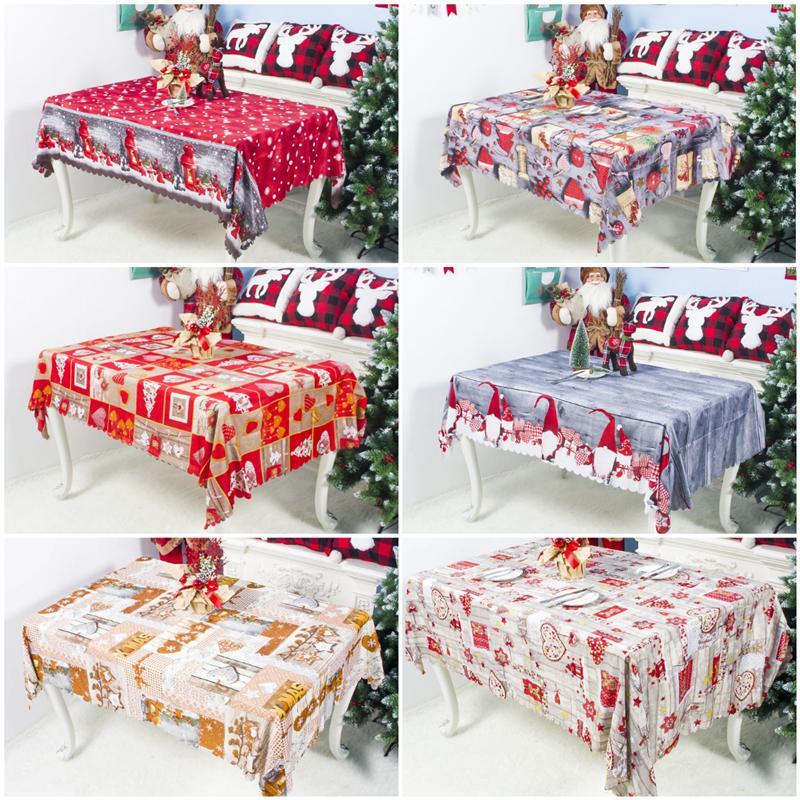 جديد 7Styles عيد الميلاد مفرش المائدة عيد الميلاد الكرتون البوليستر مفرش المائدة الحزب قابل للغسل الديكور الجدول القماش 150 * 180CM ذات نوعية جيدة