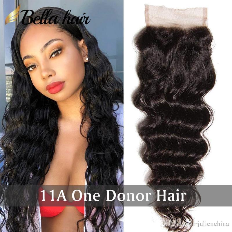 Brown Lace Bella Hair® 4x4 dei capelli umani chiusura del merletto HD / Con Il Bambino capelli sciolti profonda onda ondulato naturale nero superiore del merletto chiusure svizzero