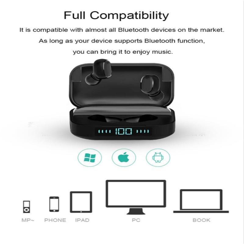 Беспроводная связь Bluetooth гарнитура 5,0 TWS гарнитура наушники-вкладыши стерео портативный короб с микрофоном