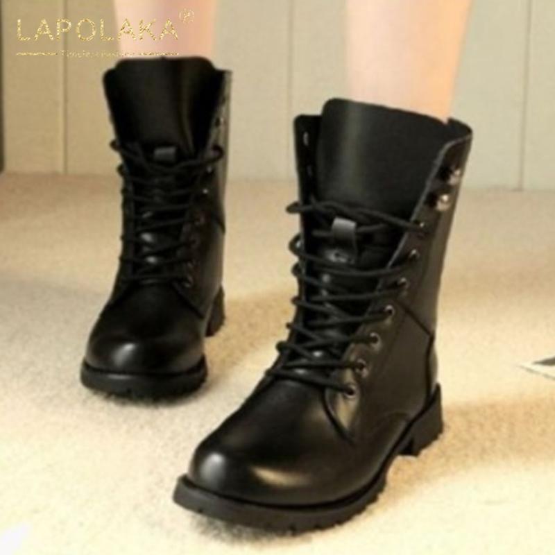 Lapolaka Nouveautés 2020 grande taille 43 talons épais Bottines femme Chaussures à lacets Bottes Chaussures confortables dames