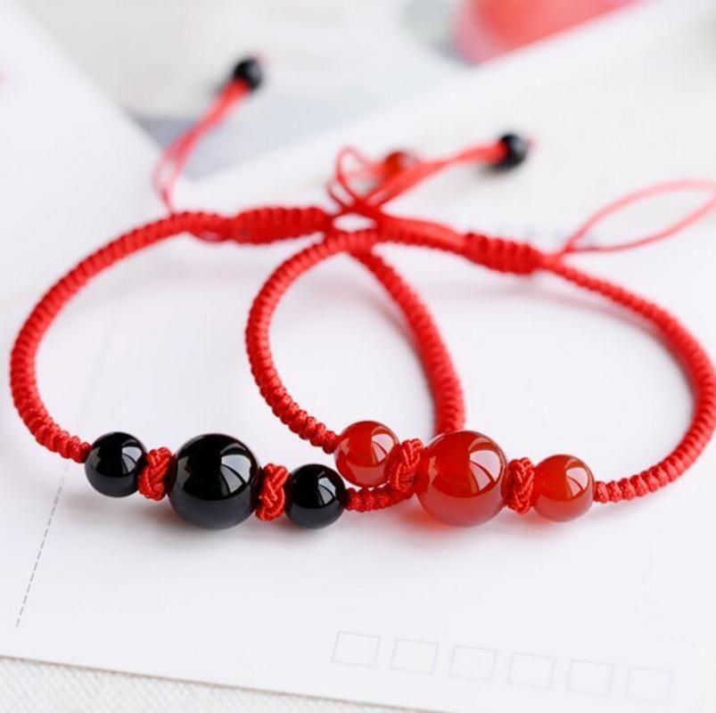 Drop Shipping Çin Tarzı El Yapımı Şanslı Kırmızı Dize Bilezik Bilezik Kırmızı Siyah Akarsu Taş Boncuk Erkek Kadın Çift'in Bilezik1