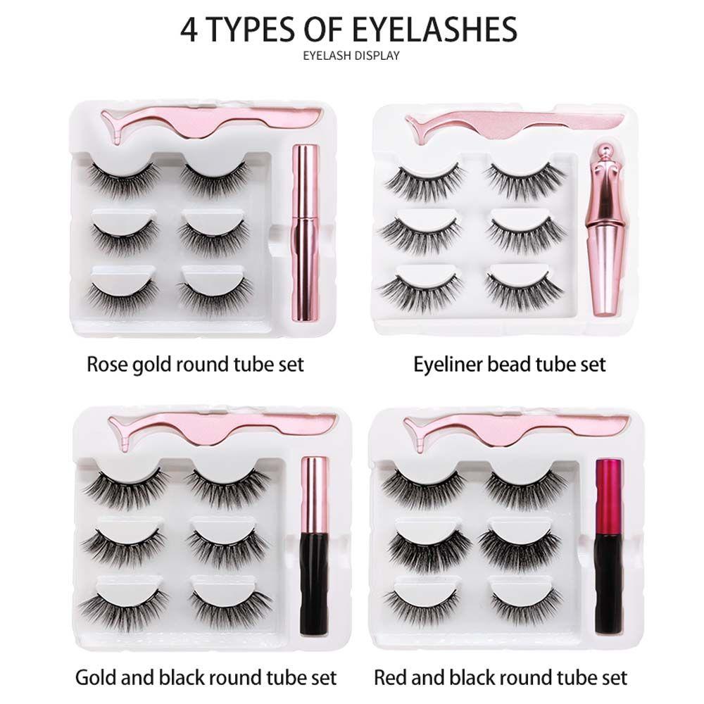 3 pairs manyetik kirpikler yanlış kirpikler + sıvı eyeliner + cımbız göz makyaj seti 3d mıknatıs doğal yeniden kullanılabilir hiçbir tutkal gerekli