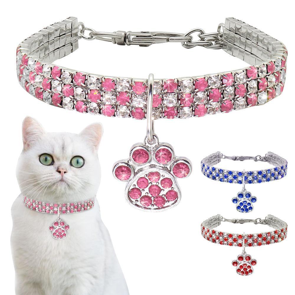 Bling strass chien chat col mélangé couleurs diamants chiot chiot cols d'animaux de compagnie pour chiens s m l bijoux accessoires pour chien de compagnie