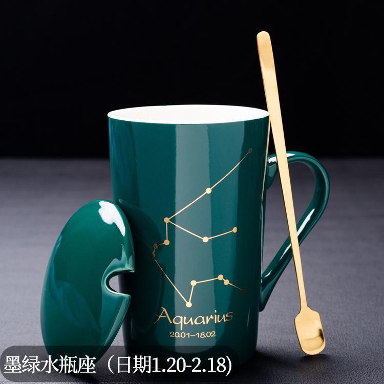 Creative 12 Constellation Água Cerâmica Dark Green Gold Copo de café com capa colher chá bebendo copo 50 peças podem ser personalizadas