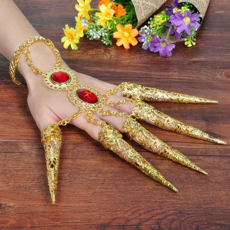 Belly Dance Roupas Acessórios Pulseira de dedo Pregos com jóias vermelhas artificiais e parte ajustável do pulso para dançarer1