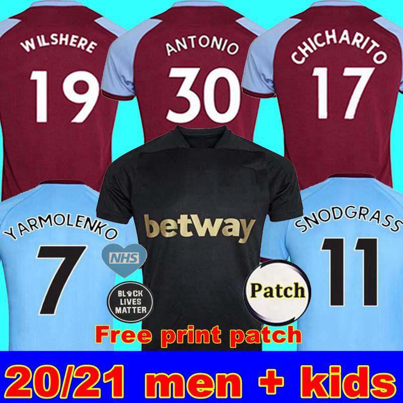 20 21 WEST جيرسي لكرة القدم 2020 2021 HAM المتحدة NOBLE بالقميص أندرسون الأرز NOBLE قمصان كرة القدم للرجال + الاطفال عدة 125th الثالثة الطباعة السوداء الحرة